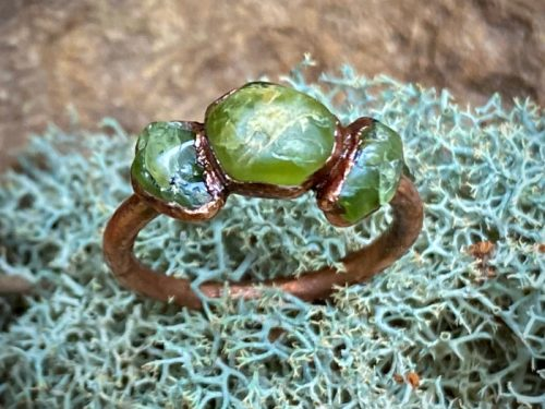 Triple Raw Emerald Ring