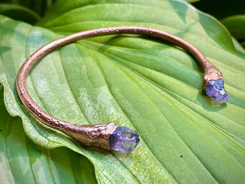 amethyst crystal point bangle xs